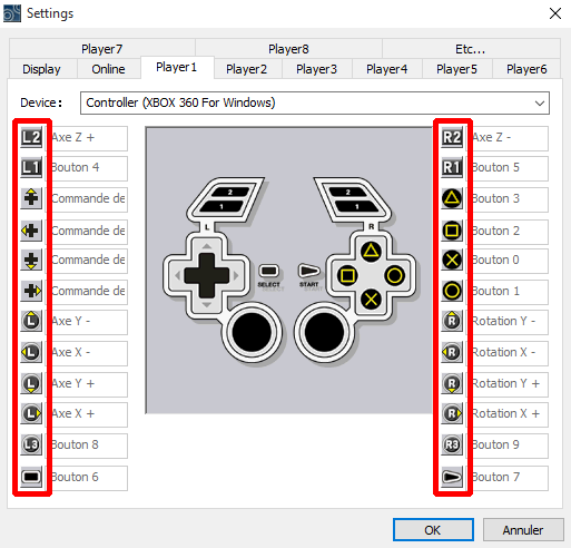 To configure a button, click on its symbol on the left or right column